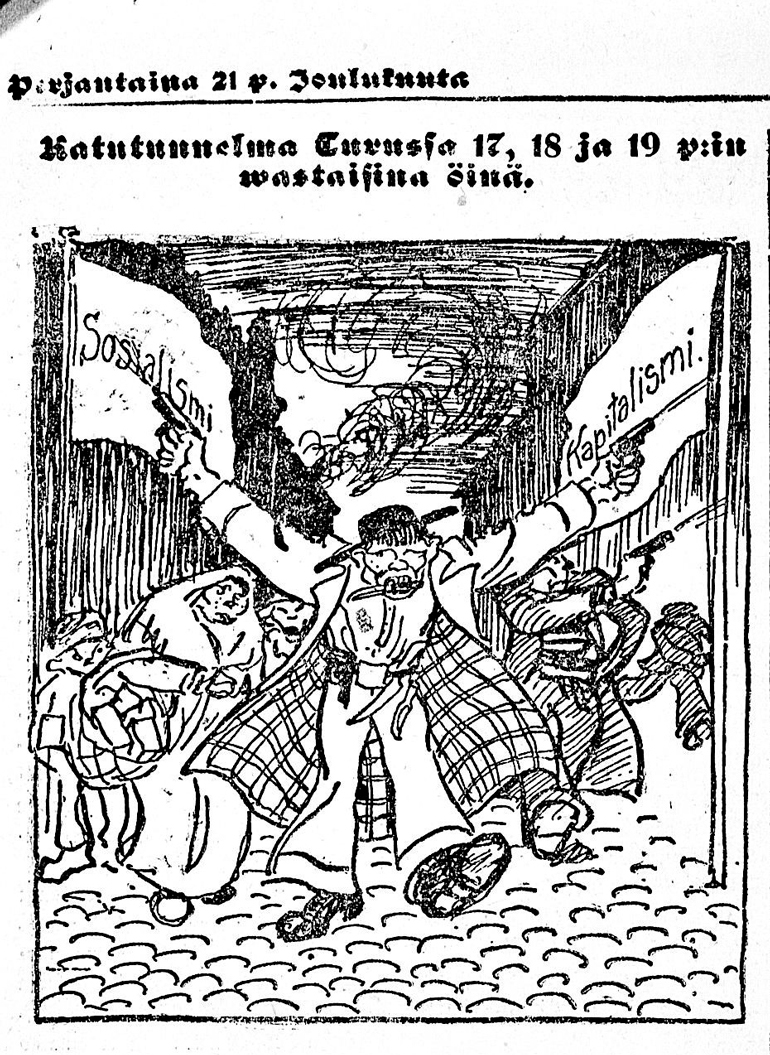 Cartoon in the newspaper Sosialisti 21 December 1917.