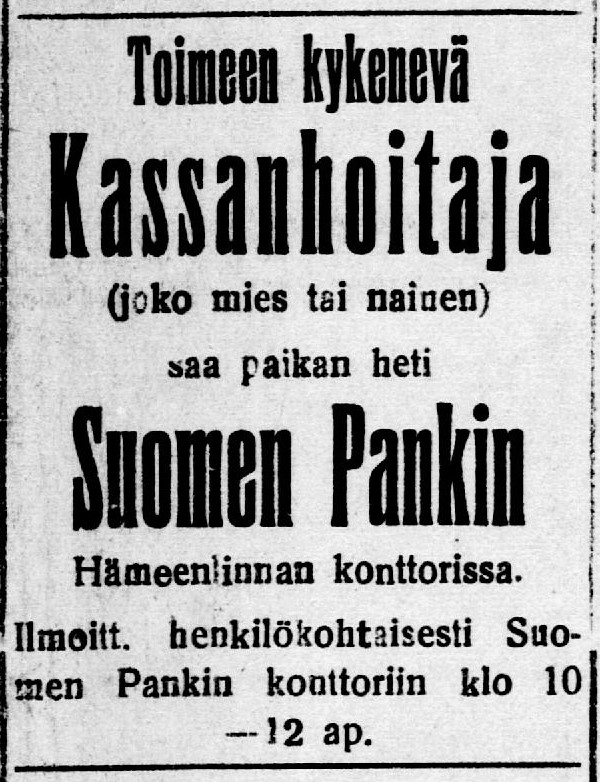 Hämeen Voima newspaper, 5 March 1918.