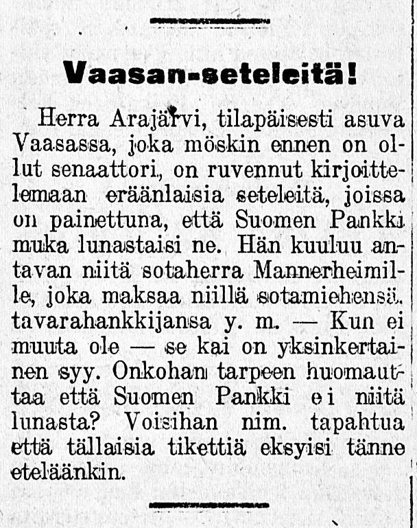 'Vaasa banknotes!' Lovisa Notisblad newssheet, 28 March 1918.