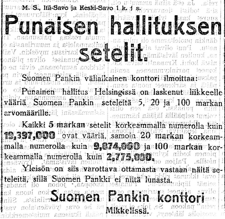 Press announcement of the invalidation of Red banknotes. Länsi-Savo.